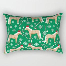 Palomino Horse Christmas - peppermint, candy cane, snowflake, christmas, green and red, santa Rectangular Pillow