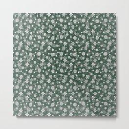 Christmas Evergreen Pine Garland Snow Flakes Metal Print
