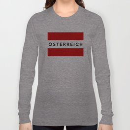 austria country flag osterreich german name text Long Sleeve T-shirt