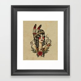Squaw smoking a pipe Framed Art Print