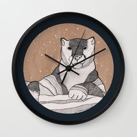 snow leopard Wall Clocks featuring Snow Leopard by Diana Hope