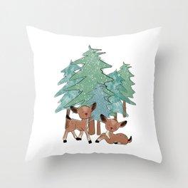Little Deers In A Winter Landscape Throw Pillow