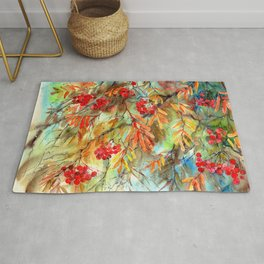 Rowan Tree With Colorful Autumn Leaves Rug