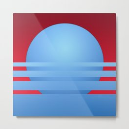 Stylized illustration of sunset in red and blue Metal Print