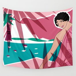 ANACAPRI: Art Deco Lady in Pink and Aqua Wall Tapestry