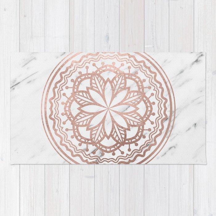 Marble mandala - soft rose gold on white Rug