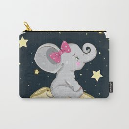 Cute Baby Elephant Nursery Decor, Pink, Grey, Navy Blue Carry-All Pouch