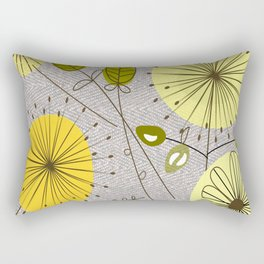 Mid-Century Modern Floral Rectangular Pillow