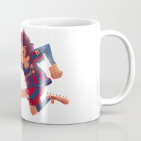 messi Mugs featuring Lionel Messi, Barcelona Jersey by Mike Laughead