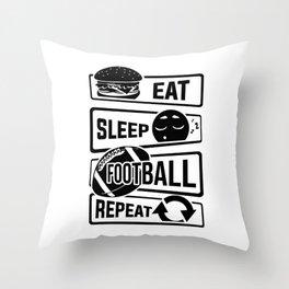 Eat Sleep Football Repeat - Touchdown USA America Throw Pillow
