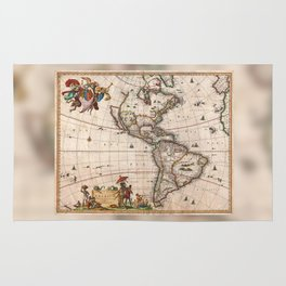 1658 Visscher Map of North & South America with enhancements Rug
