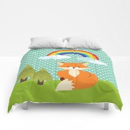 Fox, Rainbow , nursery decor , children gift, birthday gift Comforters