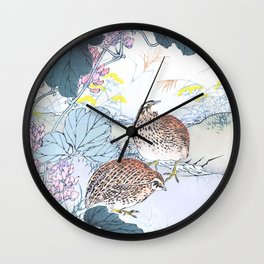 Two Quails And Kudzu Flowers - Antique Japanese Woodblock Print Art By Kono Bairei Wall Clock