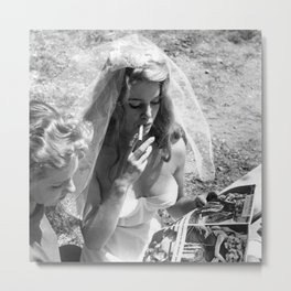 Bad Ass Brigitte Bardot Smoking A Cigarette Wedding black and white photograph Metal Print