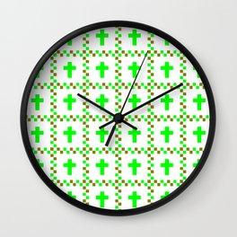 Christian Cross 38 green Wall Clock