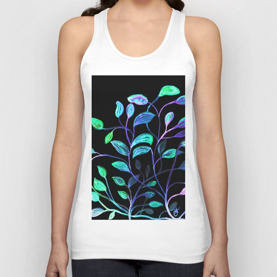 Do Not Go Into The Night, Red and Green Leaves Unisex Tank Top