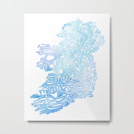 Typographic Ireland - Blue Watercolor map Metal Print
