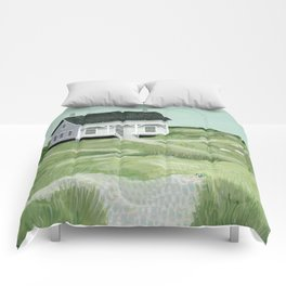 Cottage on the beach Comforters