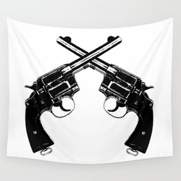 Crossed Revolvers Wall Tapestry