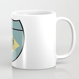 Delaware Flag In An Interstate Sign Coffee Mug