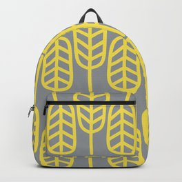 Feather Leaves Minimalist Pattern in Lemon Yellow and Light Gray Backpack
