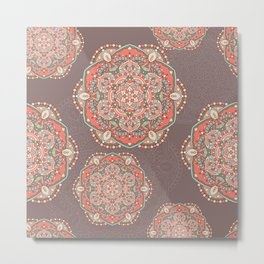Vintage mandala pattern Metal Print