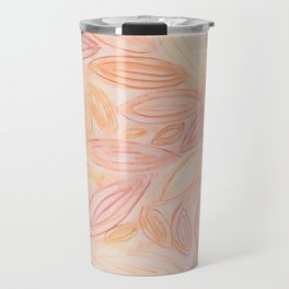 Fall Leaves in pale orange, terracotta, light yellow, muted red Travel Mug