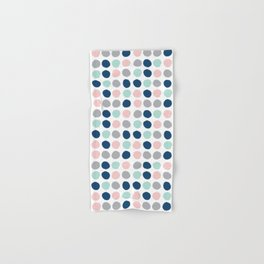 Zanthe - abstract trendy dots polka dots painted dot pattern blue pink pastel pantone color of the  Hand & Bath Towel