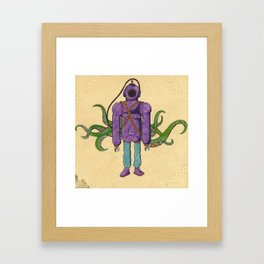 Purple Scuba Diver Framed Art Print