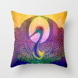 Japanese Stork Throw Pillow