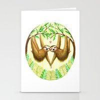 sloths Stationery Cards featuring Sloths in Love by Kirsten Sevig