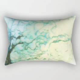 Abstract modern teal brown marble tree pattern Rectangular Pillow