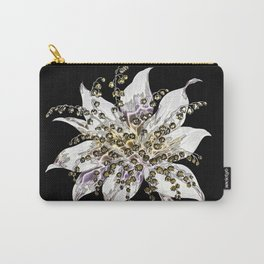 Painted Flower on Black Background Carry-All Pouch