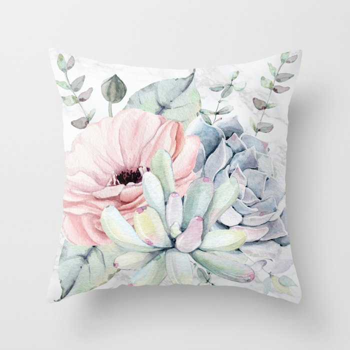 Pretty Succulents on Marble by Nature Magick Throw Pillow