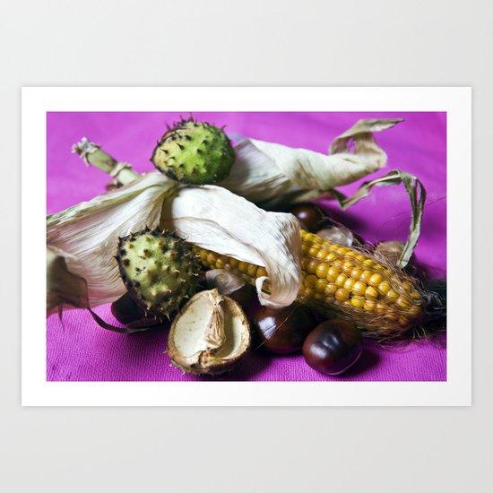 Atumnal Still Life - Chestnut & Maize Art Print