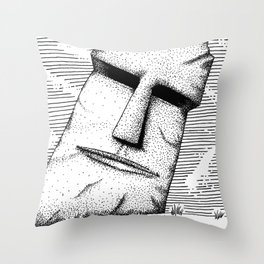 Carved Stone Face Throw Pillow
