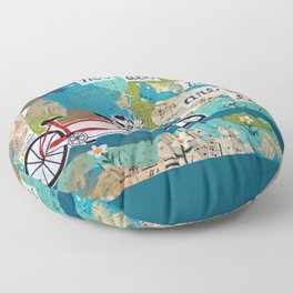 Not all who Wander are Lost - Red Tandem Bicycle Floor Pillow