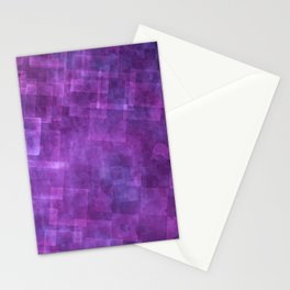 Abstract Purple Squares Digital Painting Stationery Cards