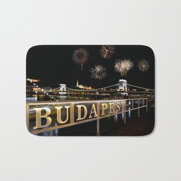 Chain bridge  with fireworks on Budapest city. Bath Mat