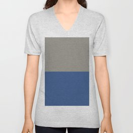 Classic Blue and Light Gray Taupe Solid Colors Horizontal Stripe Minimal Graphic Design  Unisex V-Neck