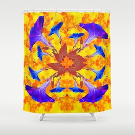 Purple & Gold Floral Design Shower Curtain