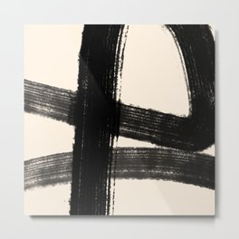 Abstract Minimalist Painted Brushstrokes in Black and Almond Cream 1 Metal Print