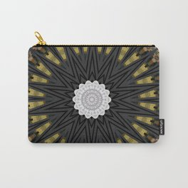 Dark Black Gold & White Marble Mandala Carry-All Pouch