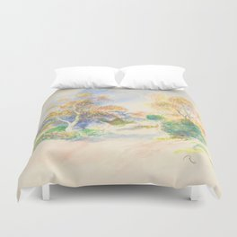 "Auguste Renoir ""Landscape with a Path between Trees"" Duvet Cover"
