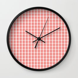 Coral Gingham Wall Clock