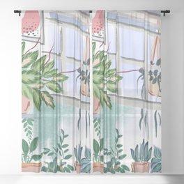 House Plants Illustration 011 Sheer Curtain