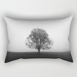 Lonely tree in fog black and white Rectangular Pillow