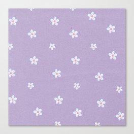 Modern lavender teal pink hand painted floral Canvas Print