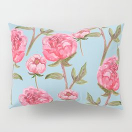 Pink Peonies On Blue Background Pillow Sham