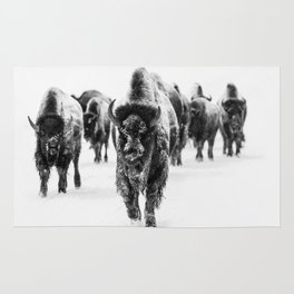 Bisons, black and white Rug
